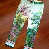 34-36р. Атласные цветные укороченные брюки, замеры