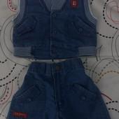 Джинсовый костюм для мальчика от 0 до 6 мес, на вид как новый