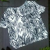 Широкая блуза oversize интересного дизайна в хищный принт от H&M, l-xl
