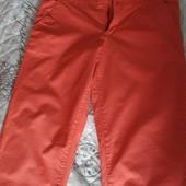Летние катоновые штаны,яркого клубничного цвета!