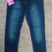 Класні стильні завужені з підкатами джинси для модниці на р 134
