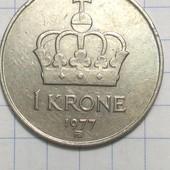 Монета Норвегии 1 крона 1977 год !!!
