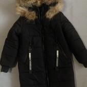 Зимнее очень тёплое пальто р.32 на 5-6 лет.