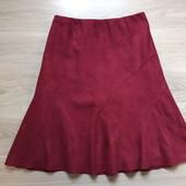 Фирменная новая красивая юбка из эко-замши цвета марсала р.14-16