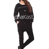 Костюм (кофта, брюки) Majaly черный спортивный размер L-M
