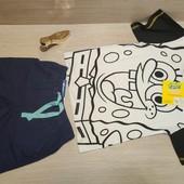 Германия!!! Симпатичный лот для мальчика! Коттоновая футболка 6А и Бермуды 116!