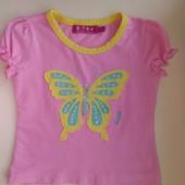 Яркая трикотажная футболочка для девочки на рост 92-104