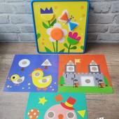 "Набор для творчества ""Арт мозайка -геометрика"" для малышей!аналог Alex США.22 фишек + 12 картинок ."