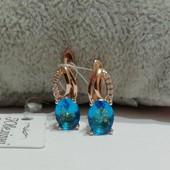 Шикарные серьги с фианитами аквамаринового и белого цвета!!! Медзолото. Позолота 585