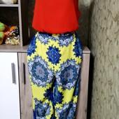 Собираем лоты!! Яркий комплект брюки +блуза, размер L