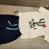 Германия!!! Лот из суперовой коттоновой футболки 98/104 и бермудов 98!