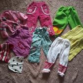 Пакет теплых штанишек для девочки на 1-2 годика