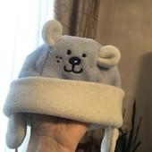Тёплая флисовая шапка, как новая 42/44 см