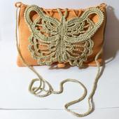 Сумочка из хлопка оранжевая с золотой бабочкой