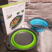 Дуршлаг- сито силиконовый складной Collapsible filter baskets ( набор 2 штуки)
