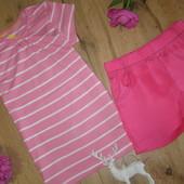 Супер-классный комплект на лето для девочки из хлопка футболка+шорты рост 110-116 4-6 лет
