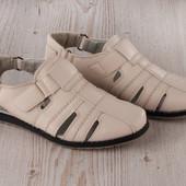 Шикарные кожаные летние светлые дышащие туфли на липучке.два вида.