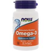 Now Foods, Омега-3, Молекулярная дистилляция, 30 капсул, Америка