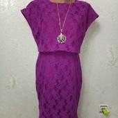 Шикарное яркое нарядное платье, плотный гипюр Румыния р12(44-46-48) пог 48