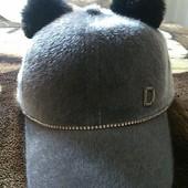 Последняя! Новая кепка серый велюр с ушками из натурального кролика, р.56-58
