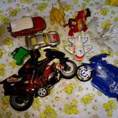 Мега лот 9шт. машинки, мотоциклы, самолет, динозавры