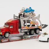 Инерционный автотрейлер тягач + 2 машинки в комплекте! !