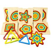 Деревянная развивающая и обучающая рамка вкладыш пазл сортер Фигуры«Треугольник»