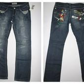 Новые, с бирками! Супер модные джинсы с прозрачными карманами и потертостями! Размер 29. Вышивка.