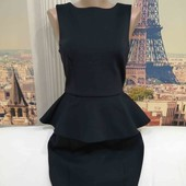 Платье с баской тёмно-синее, Topshop, размер XS-S