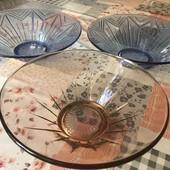 Лот= 3 стеклянные вазы/салатницы ( раритет СССР 1962 год).