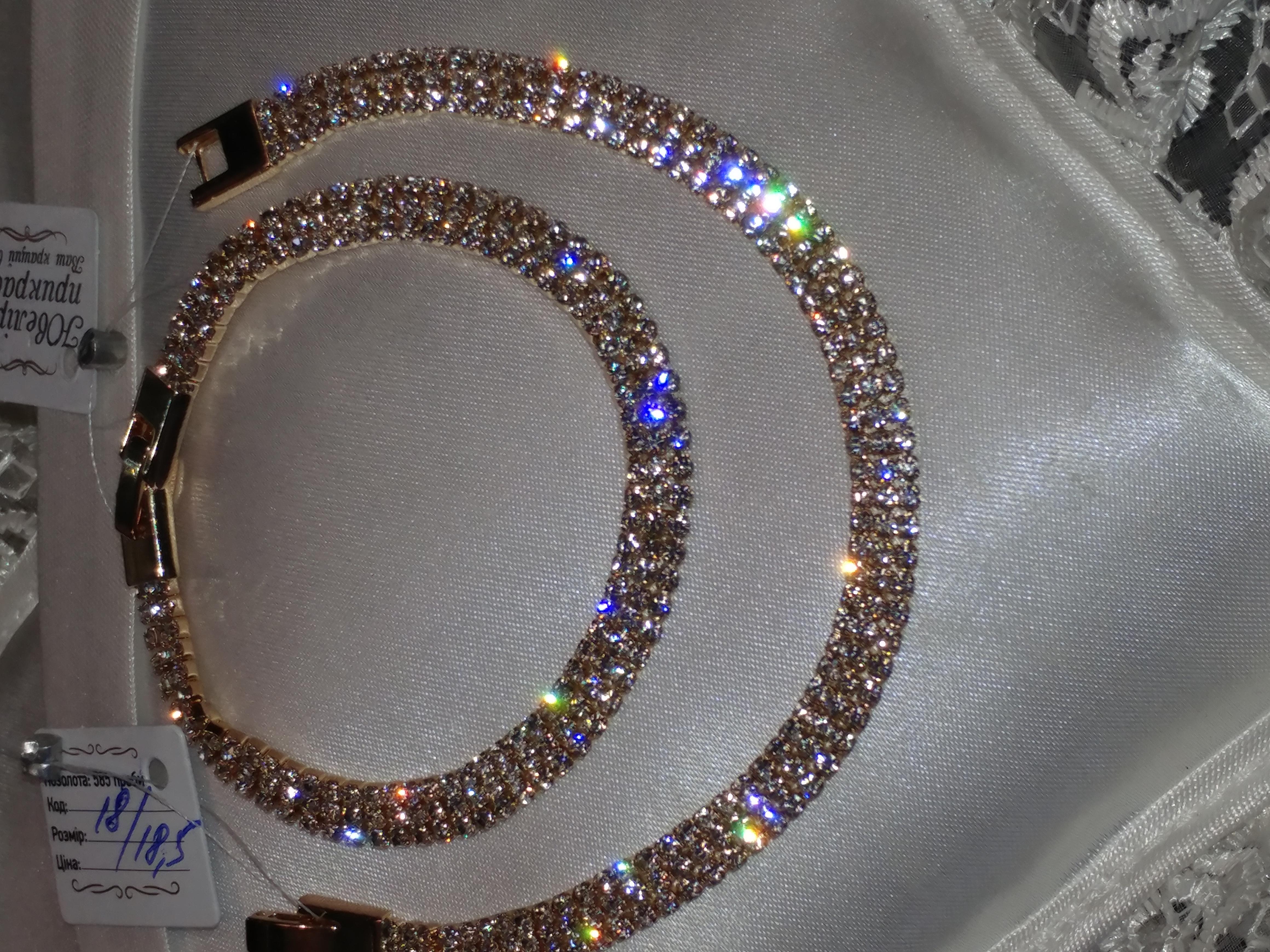 дорогой шикарный браслет весь в фианитах будет только у вас, р. 17.5 см, позолота 585 пробы