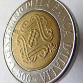 монета Италия, юбилейная 1993, 500 лир, 100 лет Банку Италии