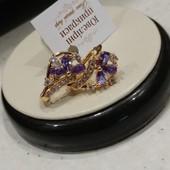новинка, супер! изысканные серьги с фиолетовым алпанитом и фианитами, позолота 585 пробы