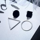 Серьги асимметрия Геометрия под серебро