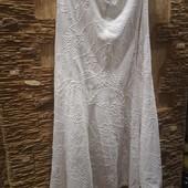 На пышные формы! Шикарная нежная легенькая льняная фактурная юбочка лен-вискоза р.16 Акция читайте