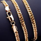 шикарный браслет, двойной панцирный, 19 см, шир 5 мм, позолота 585 пробы