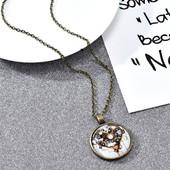 Кулон винтаж сердце стеклянное бронзовая цепь