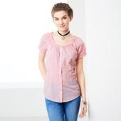Блуза с коротким рукавом в мелкую клеточку от Tchibo (Германия), размер 40 евро - 46 наш