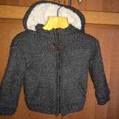 Кофта, куртка, внутри шерпа, p. 1,5-2 года 92 см, Kiabi. сост. отл.
