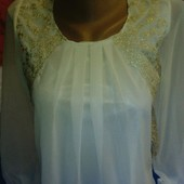 Блузка из шифона белого цвета на XS