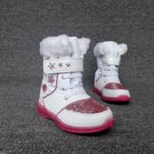 Качественные, теплые, стильные сапожки-ботинки для девочки на ножку 20 см. новые. Смотрите описание