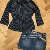 Эксклюзивная юбка джинс с необычной застёжкой + идеальная рубашка! Замеры