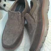 Туфли комбинированные - нат.замш, коттон, нубук...45 размер, стелька 29 см