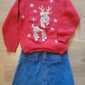 Велюровая юбка и свитерок