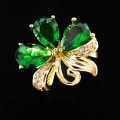 Последнее!!!Шикарное колечко c зелеными кристаллами +фианиты позолота 585 пробы р 18