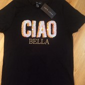 New look стильная футболка пайетки размер евро 36
