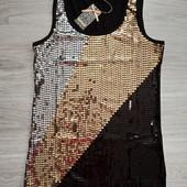 Фирменная новая красивая блуза-футболка из вискозы расшитая пайетками р.12-14