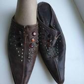 коричневые кожаные шлепки по стельке 24.5-25см