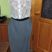 ❤Красивый набор юбка плиссе в пол и блуза шифон с кружевом М-Л, отл сост❤