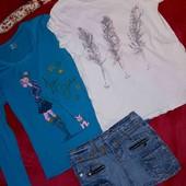 Лот из юбочки,реглана и футболки на девочку 11-13 лет